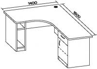 Стол офисный угловой 7 СТУ-146