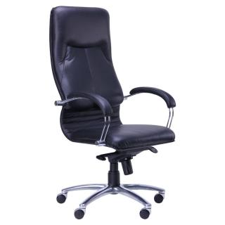 Кресло Ника HB хром кожа чёрная