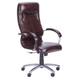 Кресло Ника HB хром кожзам коричневый