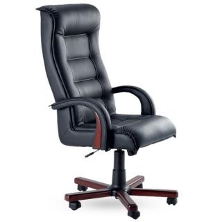 Кресло Роял люкс кожзам чёрный дерево орех