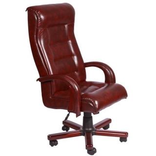 Кресло Роял люкс кожа коричневая дерево вишня