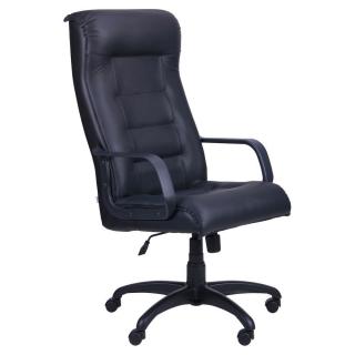 Кресло Роял пластиковые подлокотники кожа чёрная