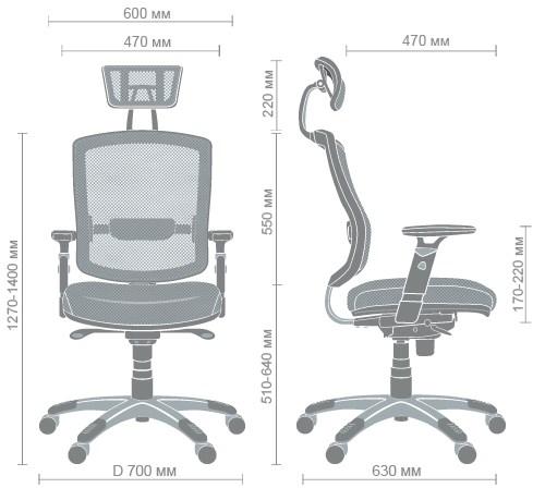 Размеры кресла Коннект HR