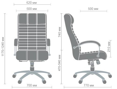 Размеры кресла Атлантис хром
