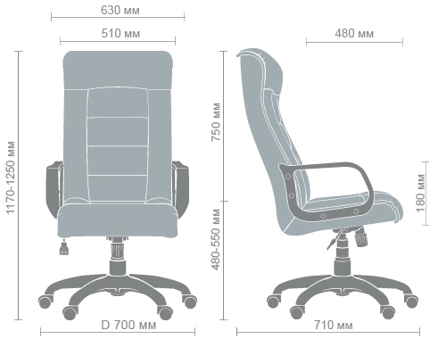 Размеры кресла Роял пластик
