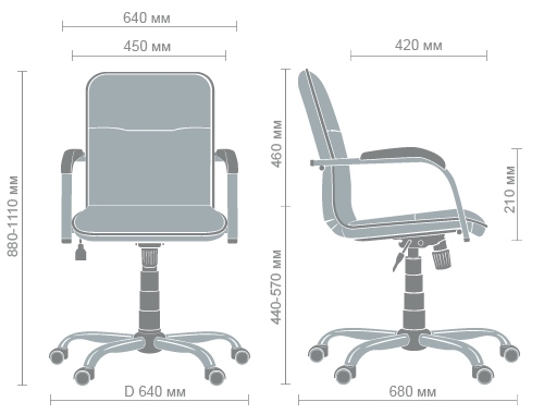 Размеры кресла Самба-RC