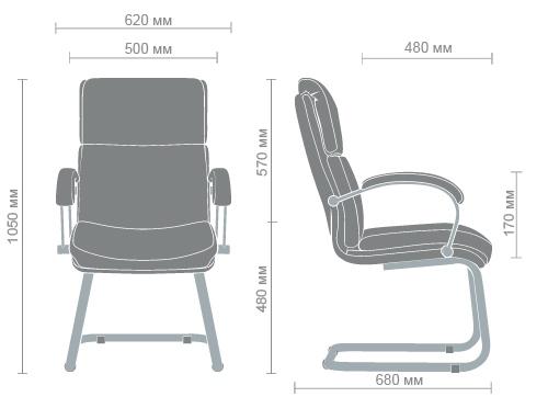 Размеры кресла Техас CF хром